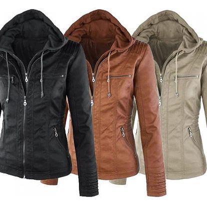 Dámská bunda z imitace kůže Biker - SLEVA