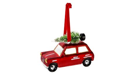 Talking Tables Vánoční ozdoba Red Car, červená barva, sklo
