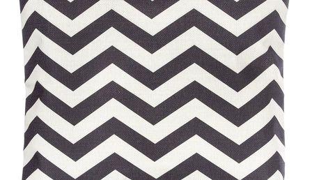 Povlak na polštář černé ornamenty lněný