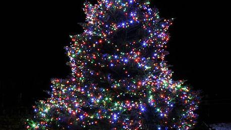 Led osvětlení vnitřní i venkovní barva multikolor - dlouhé 35 m, 500 LED žárovek.