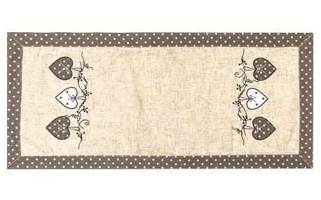 BO-MA Trading Vánoční ubrus Srdíčka puntík šedá, 40 x 90 cm