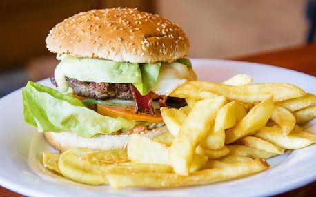 Nacpaný hovězí burger a hranolky pro 2 nebo 4 osoby