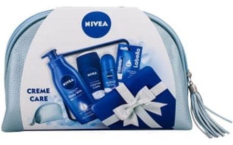 Nivea Creme Care dárková kazeta pro ženy sprchový gel 250 ml + antiperspirant Protect & Care 50 ml + tělové mléko Body Milk 400 ml + balzám na rty Labello Original 4,8 g + kosmetická taška