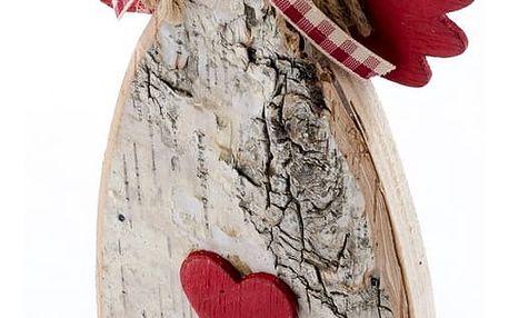 Vánoční dekorace Anděl s mašlí, červená