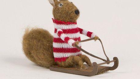 sass & belle Vánoční dekorace Sledging Squirrel, hnědá barva, dřevo, textil