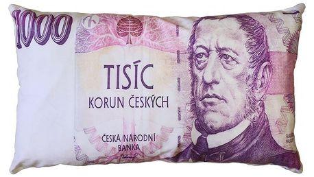 JAHU Polštářek Bankovka 1000 Kč, 35 x 60 cm