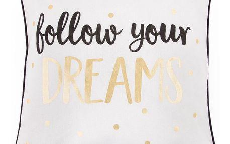 sass & belle Polštář Follow your dreams 40x40 cm, černá barva, bílá barva, zlatá barva, textil