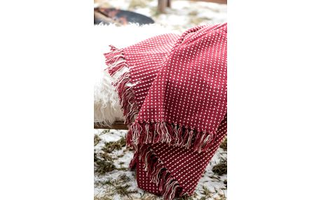 IB LAURSEN Bavlněný přehoz Red Cream 130x160 cm, červená barva, textil