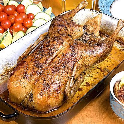 Kachna na medu a víně s knedlíkem a zelím, menu pro 1- 4 osoby v restauraci Švejk.