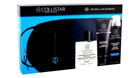 Collistar Linea Uomo dárková kazeta pro muže sprchový gel 100 ml + emulze po holení 100 ml + pěna na holení 75 ml + kosmetická taška