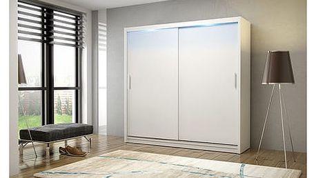 Kvalitní šatní skříň KOLA 2 bílá šířka 180 cm Bez LED osvětlení