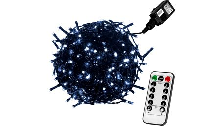 VOLTRONIC® 59746 Vánoční LED osvětlení 20 m - studená bílá 200 LED + ovladač - zelený kabel