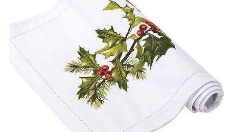 Talking Tables Vánoční běhoun na stůl Holly 30x200cm, zelená barva, bílá barva, textil