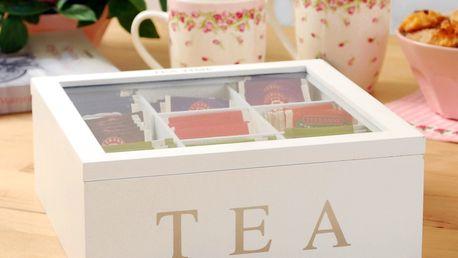 Home Styling Collection Dřevěný box na čaj TEA, 9 přihrádek - C37800120