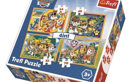 Puzzle TREFL Tlapková patrola: Vždy včas 4v1 35,48,54,70 dílků