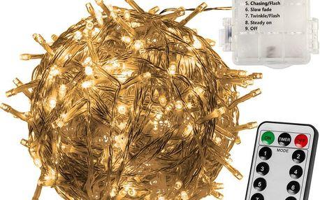 VOLTRONIC® 59576 Vánoční LED osvětlení 10 m - teple bílá 100 LED + ovladač BATERIE