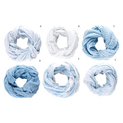 IB LAURSEN Bavlněný šátek Blue Pattern Vzor C, modrá barva, bílá barva, textil