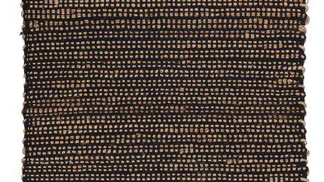 IB LAURSEN Jutový kobereček Cotton Black 60x90 cm, černá barva, přírodní barva, textil