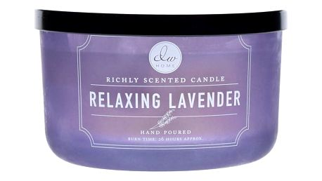 dw HOME Vonná svíčka ve skle Relaxing Lavender 390g, fialová barva, sklo, vosk