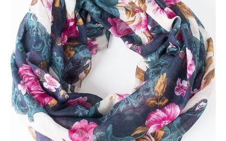 Delfin Dámská barevná šála-tunel Květy