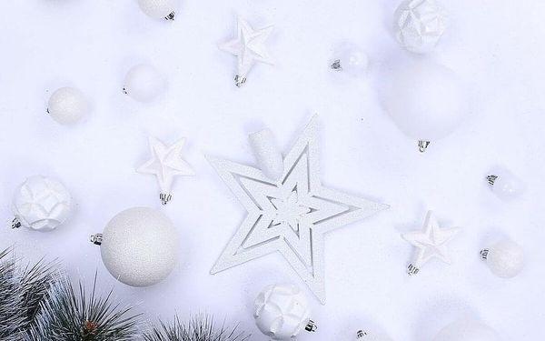 DecoKing Sada vánočních ozdob Shiny bílá, 100 ks2