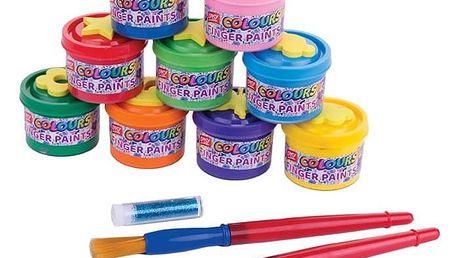 Spokey Prstové barvy v kelímku 9 barev x 40 ml + razítka+ 2štětce + třpytky + papír