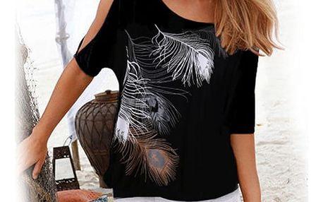Dámské tričko s peříčky - 9 barev