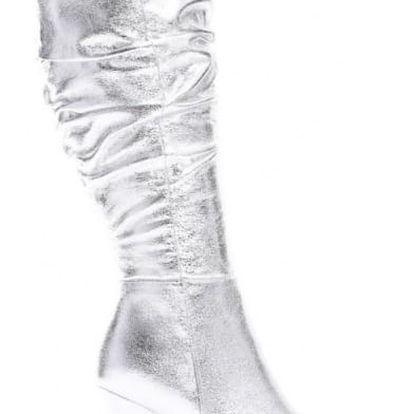 Dámské stříbrné kozačky Tina 9238