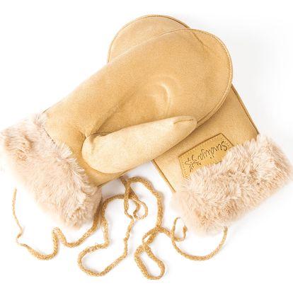 Dámské rukavice palčáky s kožešinou se šňůrkou