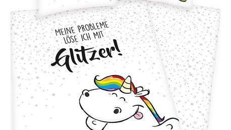 Herding Dětské bavlněné povlečení Pummel Einhorn Glitzer!, 140 x 200 cm, 70 x 90 cm