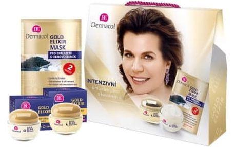 Dermacol Gold Elixir dárková kazeta proti vráskám pro ženy denní pleťová péče SPF10 50 ml + noční pleťová péče 50 ml + pleťová maska 2 x 8 g