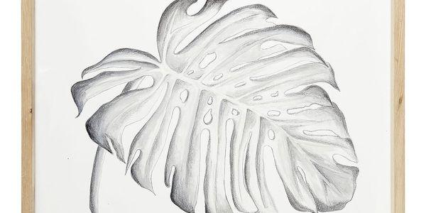 Hübsch Dřevěný rám s obrázkem Monstera, bílá barva, sklo, dřevo, papír