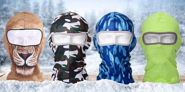 Zimní kukly na lyže s motivem slona, lva i lebky