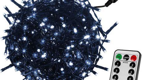 VOLTRONIC® 59750 Vánoční LED osvětlení 60 m - studená bílá 600 LED + ovladač - zelený kabel