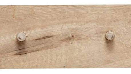 Hübsch Dřevěný věšák se čtyřmi háčky Nature, béžová barva, hnědá barva, dřevo