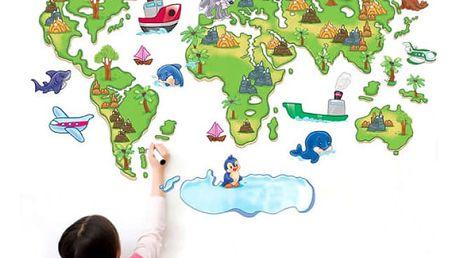 Kreslená samolepicí mapa světa na zeď