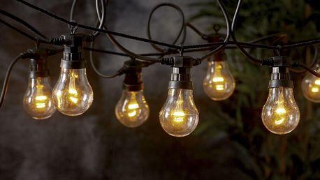 STAR TRADING Světelný venkovní LED řetěz Black, bílá barva, plast
