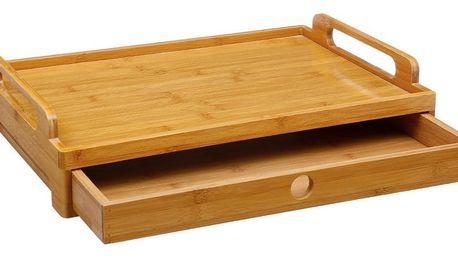 Secret de Gourmet Podnos, stolek, podnos snídaňový, bambusovy podnos, podnos se zásuvkou, kuchyňský tác, bambusové dřevo