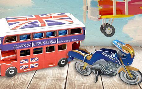 3D puzzle v motivech motorek, bagrů nebo autobusu