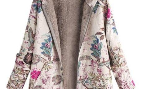 Kabát s květinovým potiskem
