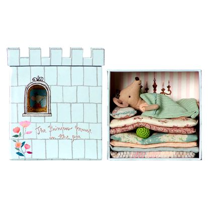 Maileg Myška Princezna na hrášku s domečkem, multi barva, papír, textil