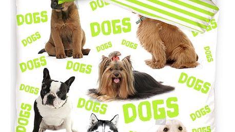 TipTrade Bavlněné povlečení Dogs, 140 x 200 cm, 70 x 90 cm