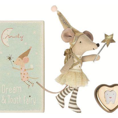 Maileg Myška Zoubková víla + plechová krabička, béžová barva, zlatá barva, krémová barva, kov, papír, textil