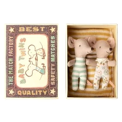 Maileg Myší dvojčata Twins in box, žlutá barva, textil