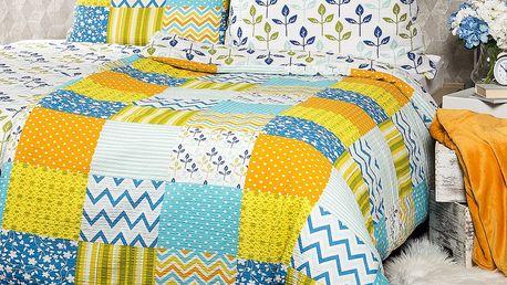 4Home Krepové povlečení Patchwork blue, 220 x 200 cm, 2 ks 70 x 90 cm
