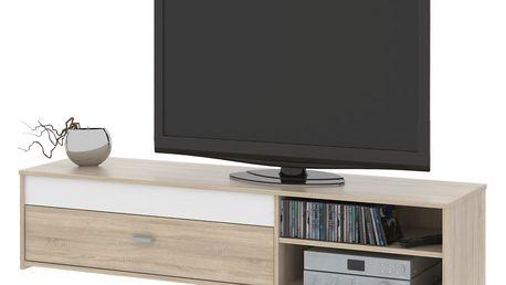 Televizní stolek FU03, dub sonoma/bílá