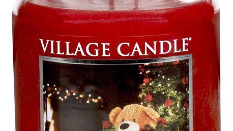 VILLAGE CANDLE Svíčka ve skle Happy holidays - velká, červená barva, sklo