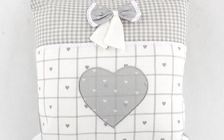 Povlak na polštář Srdce s mašlí, 40 x 40 cm