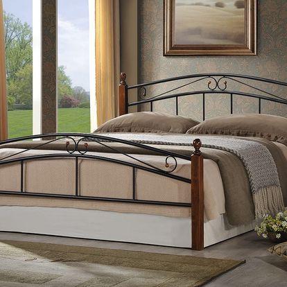KRETA, postel 180x200 cm s roštem, masiv/kov, třešeň antická