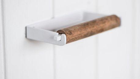 IB LAURSEN Držák na toaletní papír Altum White, bílá barva, hnědá barva, dřevo, kov